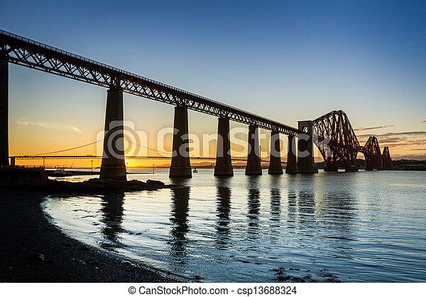 Sunset between the two bridges in Queensferry - csp13688324