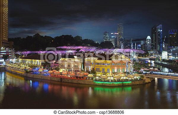 Nightlife at Clarke Quay Singapore Aerial - csp13688806