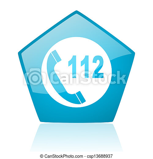 emergency call blue pentagon web glossy icon - csp13688937
