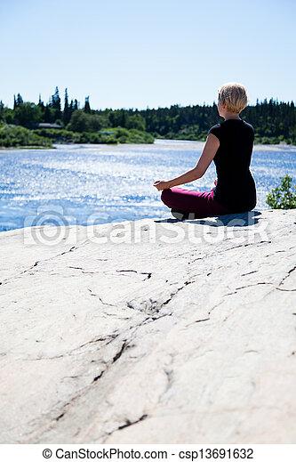 Yoga in nature - lotus - csp13691632