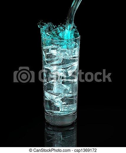 glass of fresh drink on black background - csp1369172