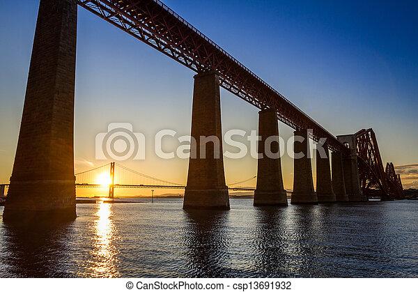 Sunset between the two bridges in Scotland in summer - csp13691932