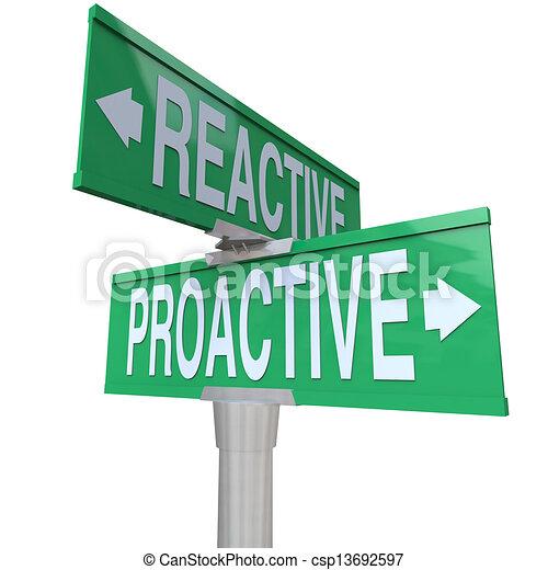 Proactive Vs Reactive Two Way Road Signs Choose Action - csp13692597