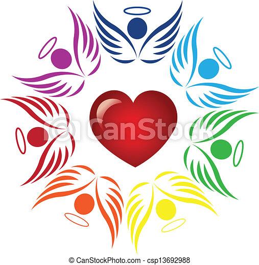 Teamwork angels around heart logo - csp13692988
