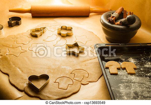 preparação, gingerbread, biscoitos, Natal, Decorações - csp13693549