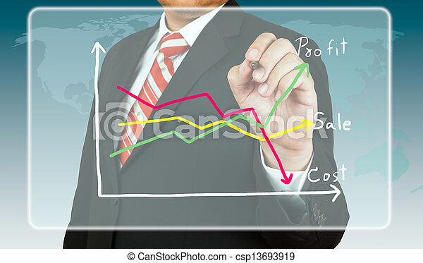 Businessman draw a chart about profit and cost - csp13693919