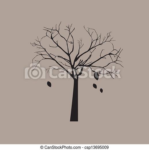 Clipart vecteur de feuilles sans arbre arbre sans - Dessin arbre sans feuille ...