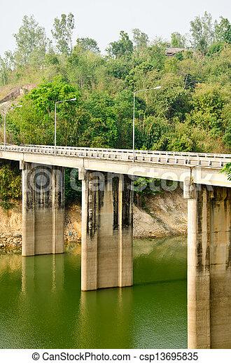 Cement bridges Kanchanaburi in Thailand - csp13695835