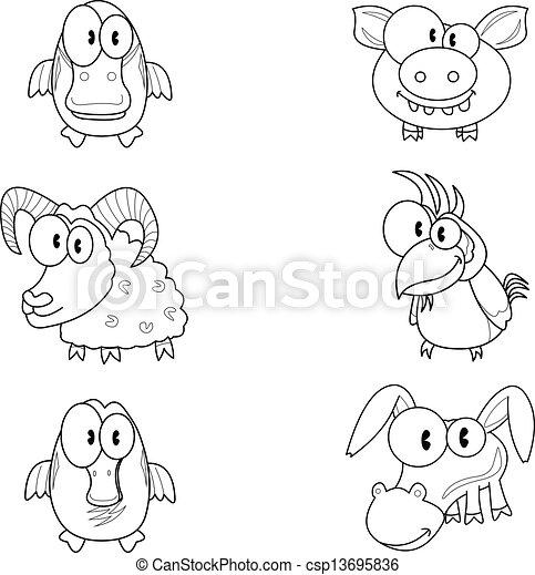 Cartoon animals - csp13695836