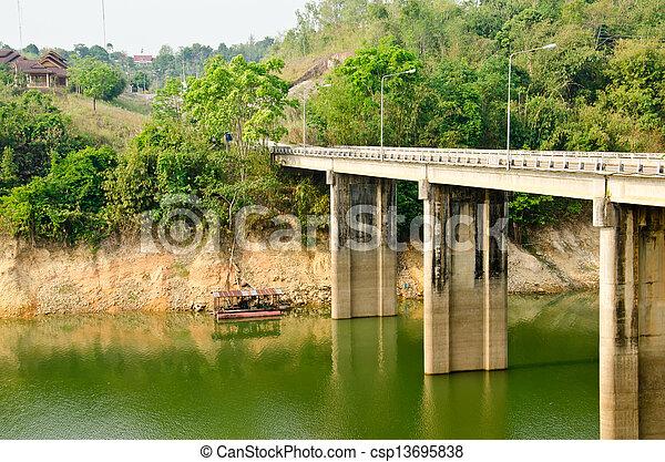 Cement bridges Kanchanaburi in Thailand - csp13695838
