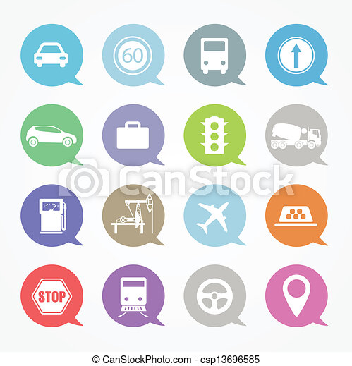 Transportation, web icons set in color speech clouds - csp13696585