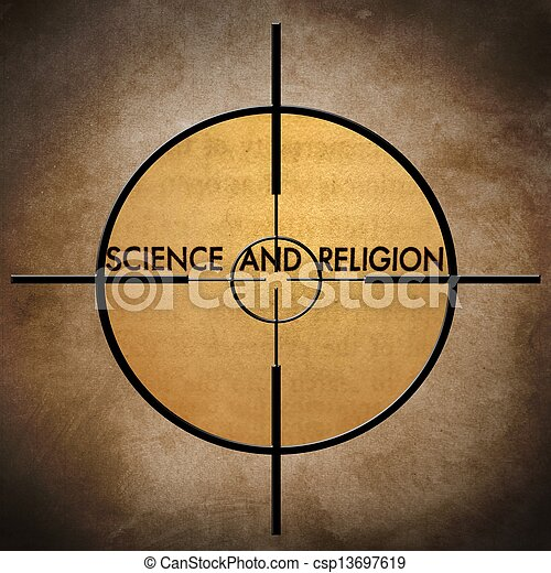 Science and religion target - csp13697619