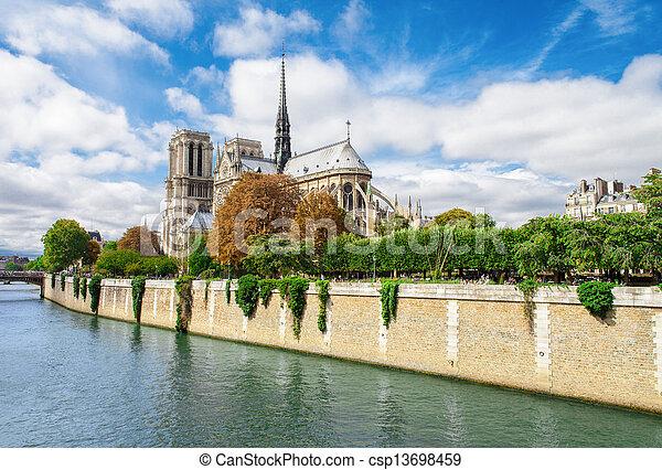 Notre Dame de Paris, France landmark. Seine river view. - csp13698459
