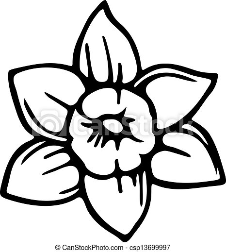 Stock Illustration of Spring Daffodil - Simple black and white ...