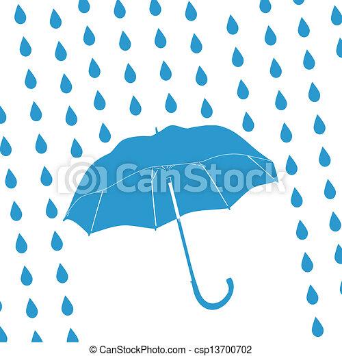 blue umbrella and rain drops - csp13700702