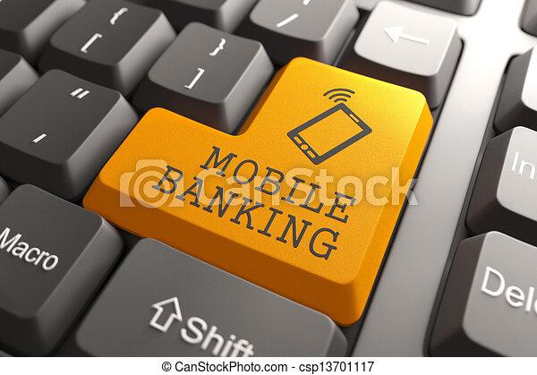 Mobile Banking Button. - csp13701117