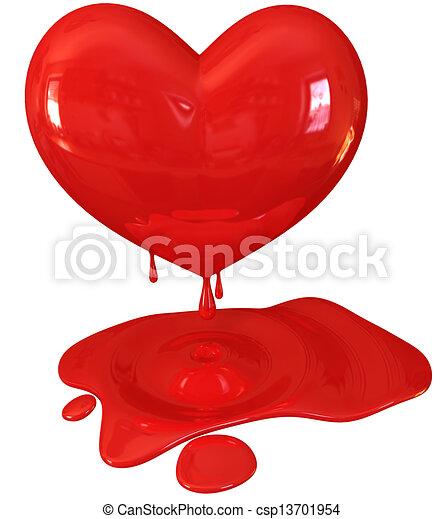 Stock Illustrations of Red melting heart, 3d render ...