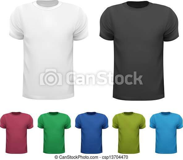 Black and white and color men polo shirts. Design template. Vector illustration - csp13704470