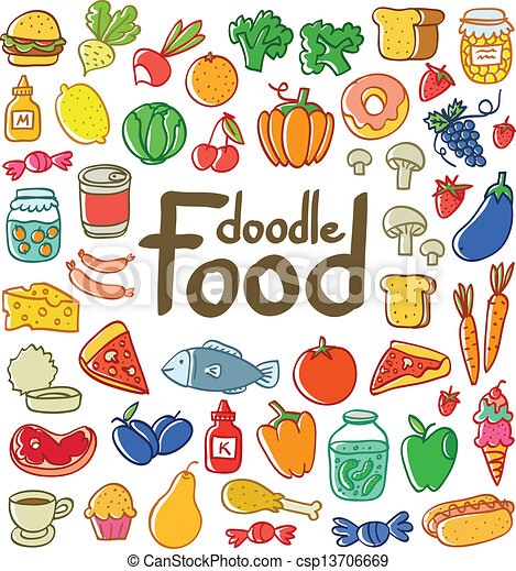 Colored doodle food set of 50 various products, fruits, vegetables and much more. - csp13706669