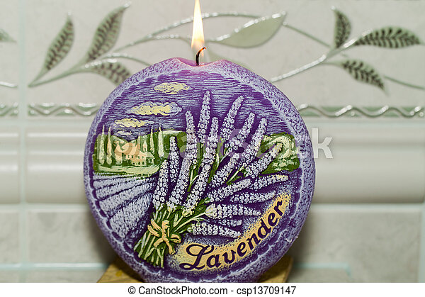 Stock Photo of Candle with lavender flowers Aromatherapy concept ...