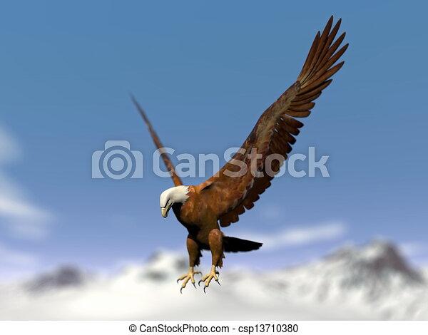 Illustration de montagne render neigeux sur - Comment dessiner un aigle royal ...