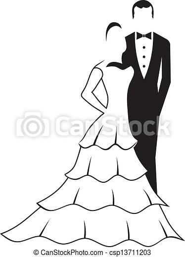 Clipart of Bride and Groom silhouette csp13711203 - Search Clip Art ...