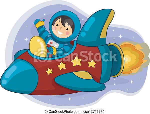 Vector astronauta ni o equitaci n espacio barco - Dibujos infantiles del espacio ...