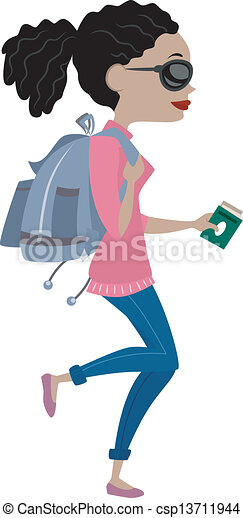 EPS Vector of Girl Traveling with Backpack - Illustration ...