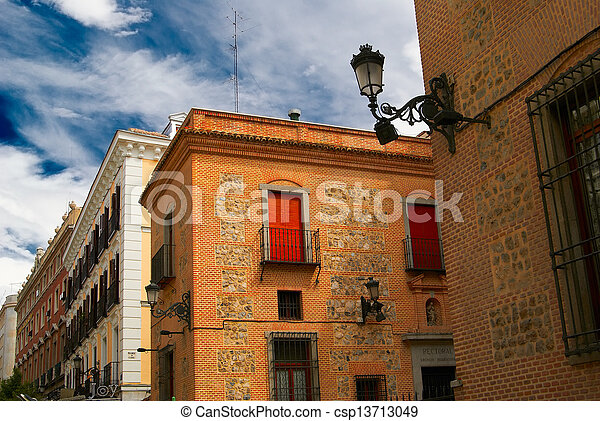 Historic buildings with lace fronts of Madrid - csp13713049