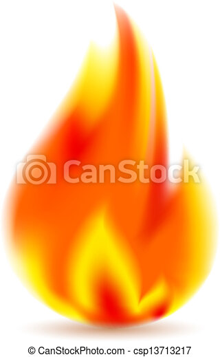 Vector Clip Art of Fire, bright flame on white background. Vector ...