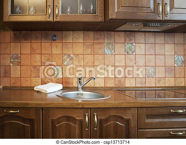 Stock de fotograf a de cocina interior con azulejos - Cocinas con azulejos beige ...