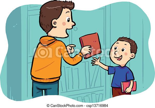 Vector of Borrowing A Book - A boy borrowing a book in the ...