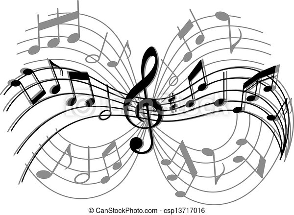 Vector clip art of abstract musical composition with music for The craft of musical composition