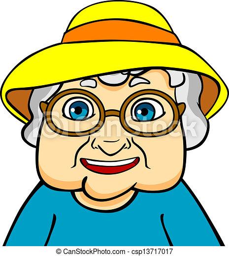 Clip art vecteur de grand m re vieux old grand m re dans chapeau et csp13717017 - Dessin grand mere ...