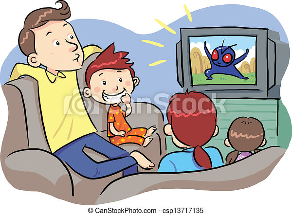 Family Watching tv Together Drawing Watching tv With Family