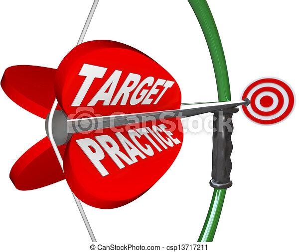 Target Practice Words Bow and Arrow Readiness Prepared - csp13717211