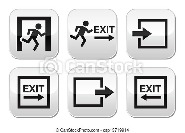 Emergency exit vector buttons set - csp13719914