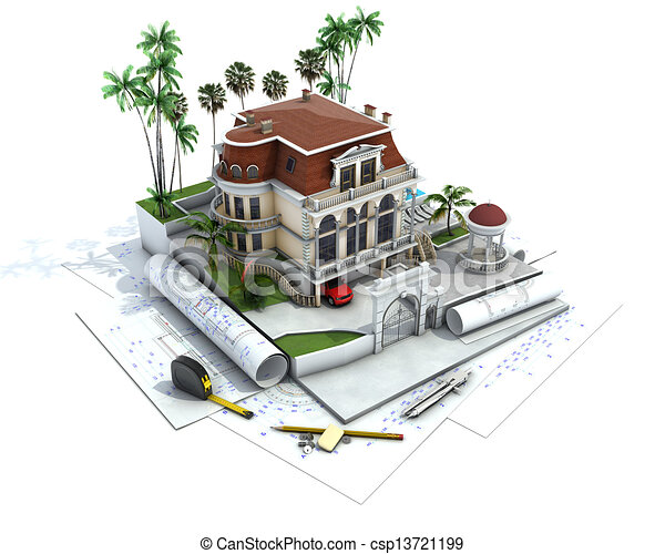 Stock Illustration of House design progress, architecture drawing ...