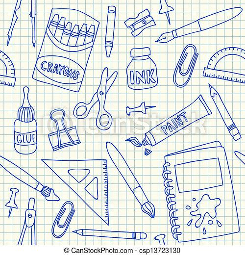 Vectors of School supplies seamless pattern - School supplies doodles ...