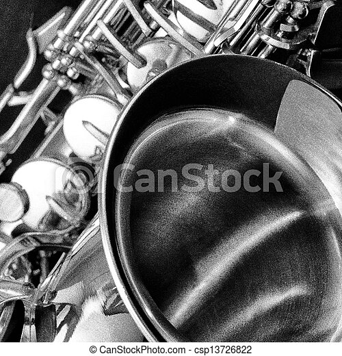 Black and white Saxophone detail - csp13726822