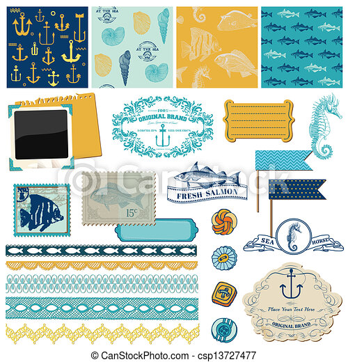 Scrapbook Design Elements - Nautical Sea Theme - for scrapbook and design in vector - csp13727477