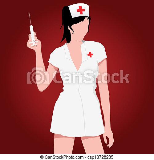 nurse - vector illustration of a sexy nurse csp13728235 - Search Clip ...
