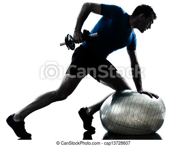 man exercising weight training workout fitness posture - csp13728607