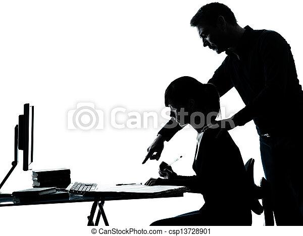 man father teacher student girl teenager homework - csp13728901