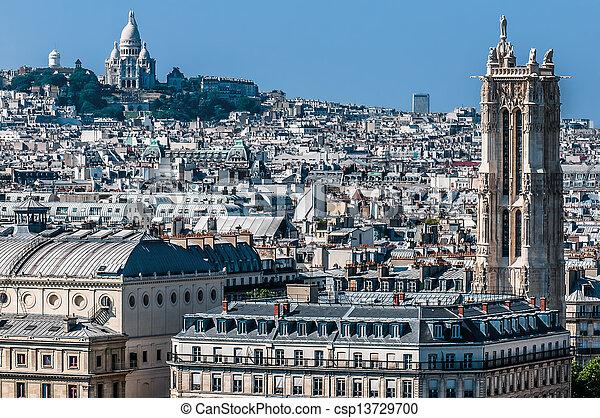 aerial view paris cityscape  France - csp13729700
