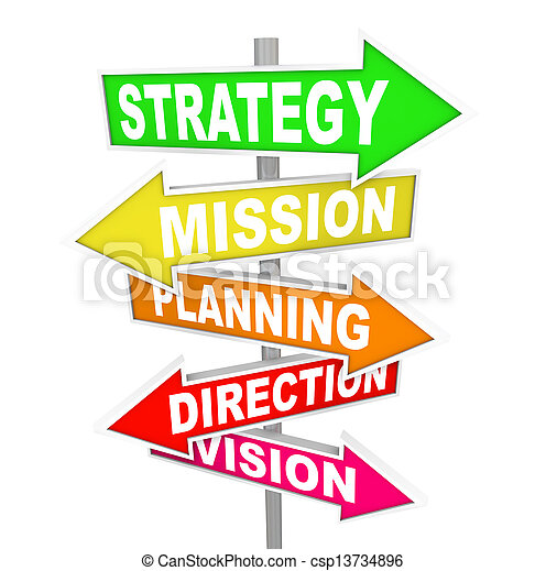 Strategy MIssion Planning Direction Vision Road Signs - csp13734896