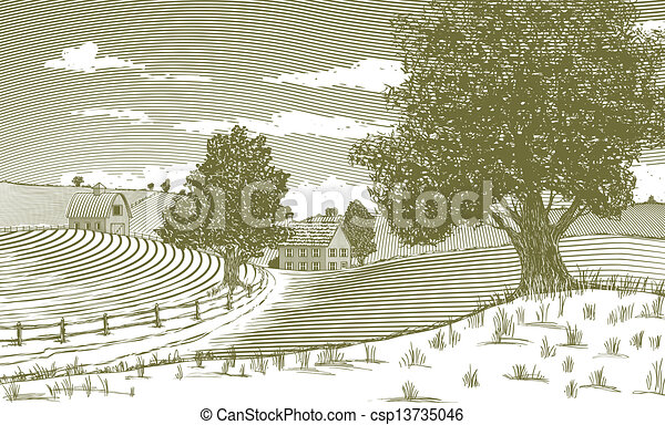 Woodcut Rural Scene - csp13735046