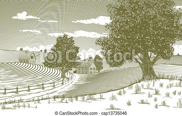 Woodcut Rural Scene - csp13735046