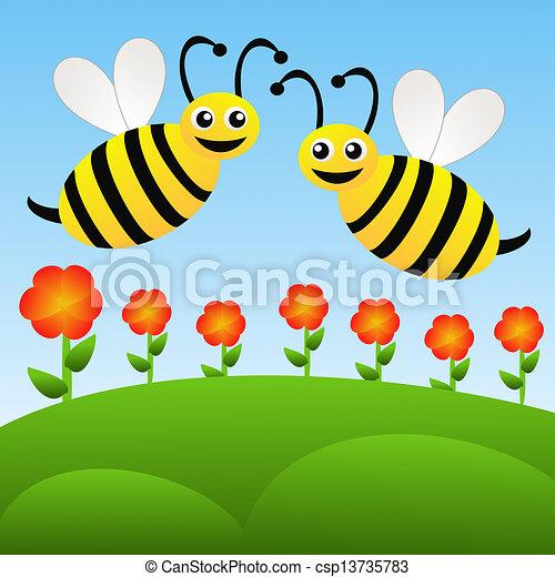 Stock illustration zwei am sant gezeichnet bienchen for Fliegen in blumen