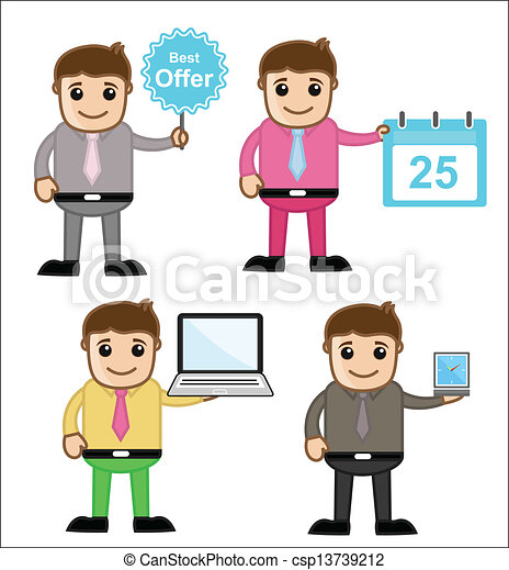 Vector Clip Art of Cartoon Office People Characters - Drawing of ...